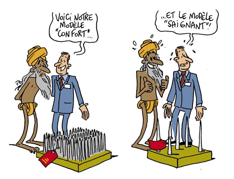 Dans les clous européens dans fonctionnement fakir