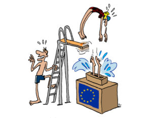 the young european voters of the future  Cartoon of Vincent Rif