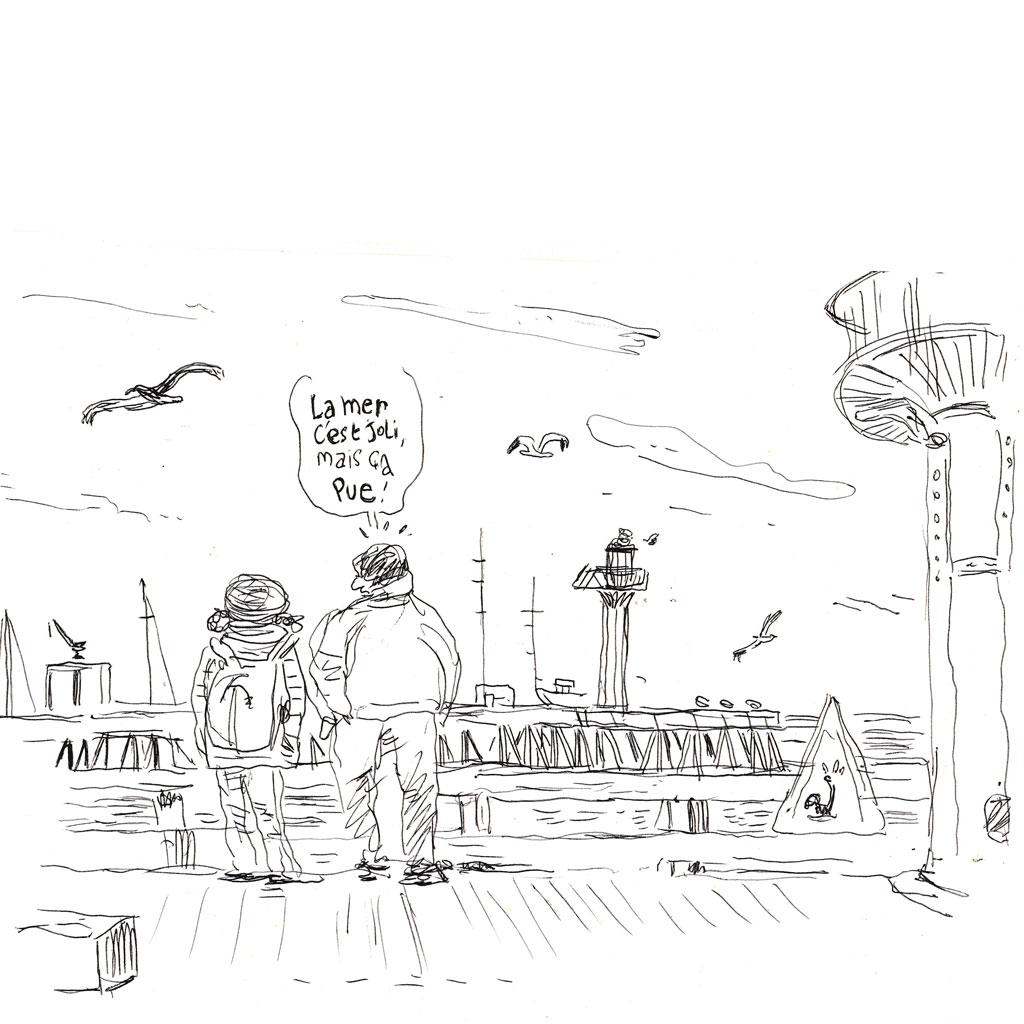 Commentaire de touriste face à la mer. Feutre.
