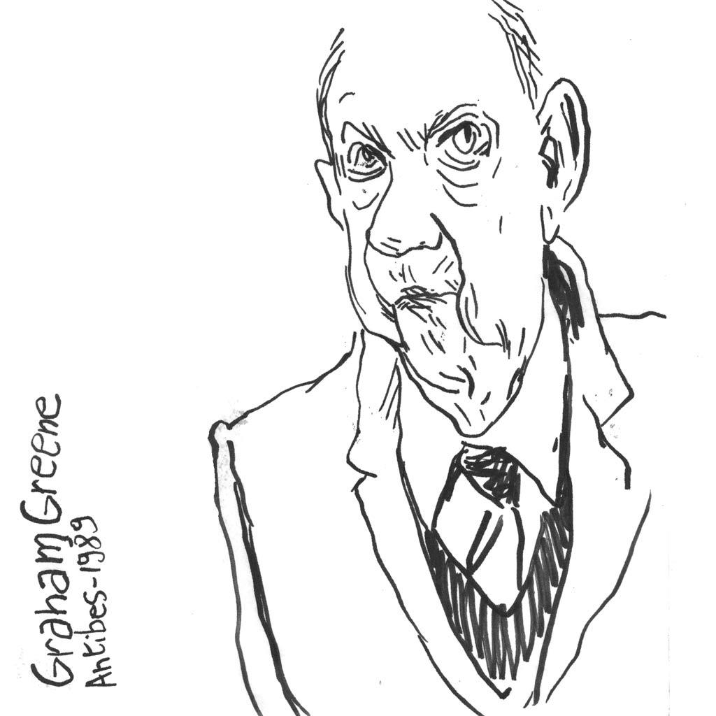 Graham Greene d'après une photo de Marc Trvier