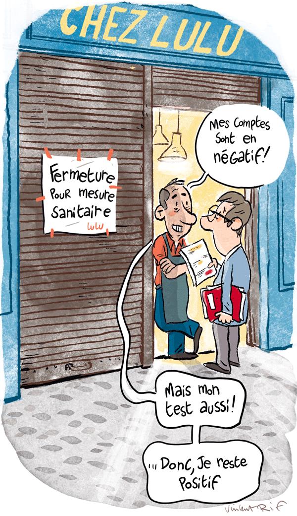 illustration pour magazine Que Choisir, payer son loyer en période Covid quand activité commerciale